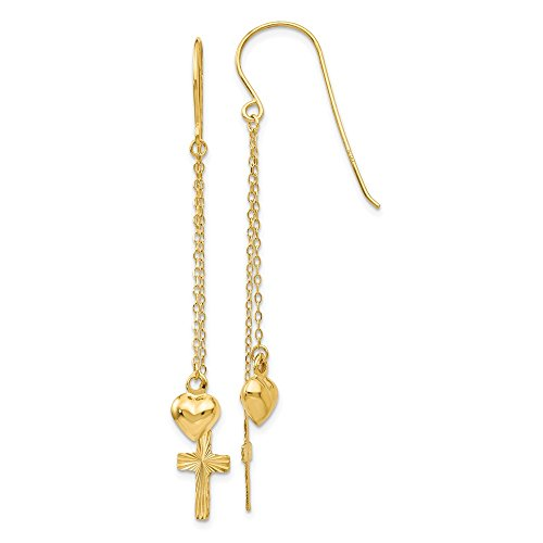 Mia Diamonds 14k Solid Yellow Gold Ropa Necklace Chain Puffed Heart and Diamond-Cut Cross Dangle Earrings (51mm x 8mm)