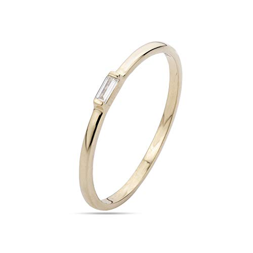 Euforia Jewels IGI Certified 14K Yellow Gold 0.06Cts (SI/G-H) Baguette Cut Natural Diamond Ring Friendship Day Gift