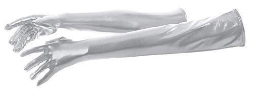 VSVO Women's Shiny Metallic Spandex Gloves (22in, Silver) -