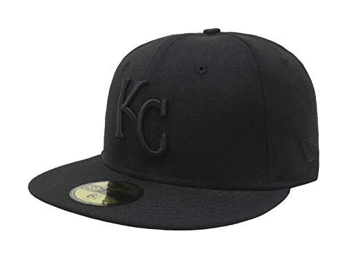 MLB Kansas City Royals Black on Black 59FIFTY Fitted Cap, 7 1/2