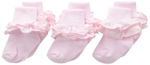Jefferies Socks Baby-girls Infant Misty Ruffle Turn Cuff Socks 3 Pair Pack, Pastel Pink, Infant