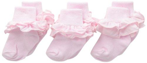 Toddler Pastel Pink Footwear - Jefferies Socks Baby-Girls Newborn Misty Ruffle Turn Cuff Socks 3 Pair Pack, Pastel Pink, Newborn