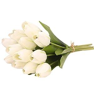 Holata 12PCS Tulip Artificial Flower Latex Real Bridal Wedding Bouquet Home Decor 104