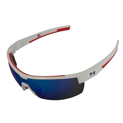Under Armour UA Reign Shiny White Frame Red Rubber Blue Mirror Lens USA - Sunglasses Reign
