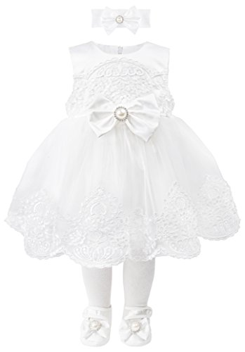 T.F. Taffy Taffy Baby Girl Christening Baptism Embroidered White Dress Gown 6 Piece Deluxe Set 3-6 Months (3 Set Gown Piece)