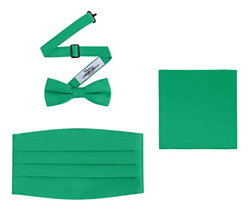 - Men's 3 Piece Formal Accessory Set with Bow Tie, Cummerbund & Pocket Hanky(Kelly Green)