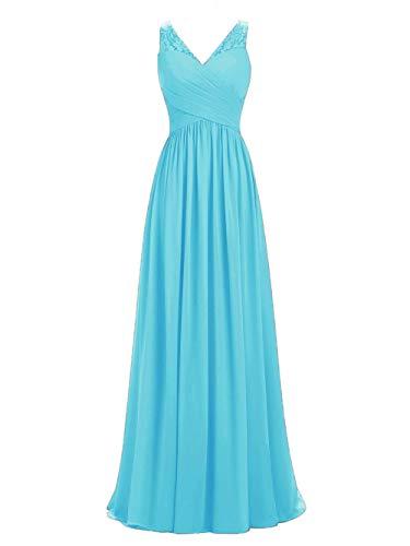 LIPOSA A-line V-Neck Chiffon Long Empire Bridesmaid Dresses Simple Prom Dresses (Turquoise, Custom Made) Chiffon V-neck Prom Dress
