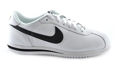 ... nike cortez basic leather 06 mens walking shoes white black metallic  silver 316418 102 11.5 m