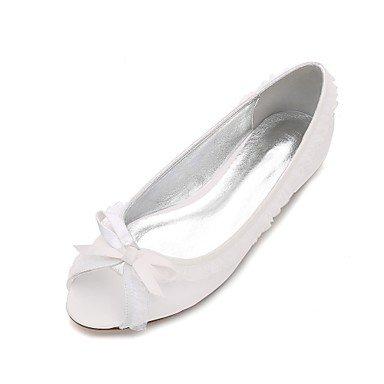 RTRY Las Mujeres'S Wedding Shoes Confort Satin Primavera Verano Boda Vestido De Noche &Amp; Rhinestone Bowknot Champán Heelivory Plana Rubí Azul Blanco Us6.5-7 / Ue37 / Uk4 5-5 / Cn37 White|US6.5-7 / EU37 / UK4.5-5 / CN37
