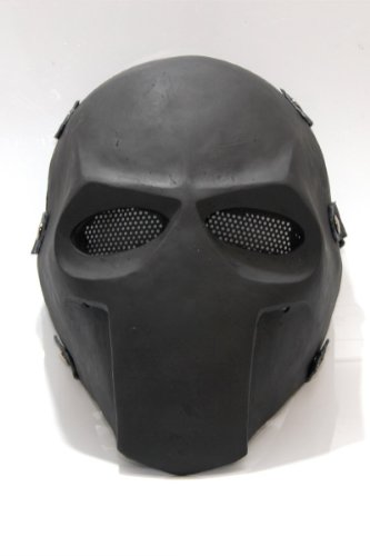 NEWWAR Battlefield Mask - Plain Black Army of Two Custom Goalie Full Face Mask Protect Mask for Airsoft, Paintball, BB Gun, War Game, Halloween Party, Hunting Wargame, Costume Cosplay Airsoft Mask and Prop Mask and All Military Purpose