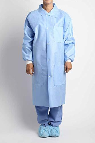 - MediChoice Laboratory Coats, Premium, Disposable, Anti-Static, Three-Pocket, Knit Cuff, 5-Snap, Spunbond Meltblown Spunbond, Medium, Blue (Case of 25)