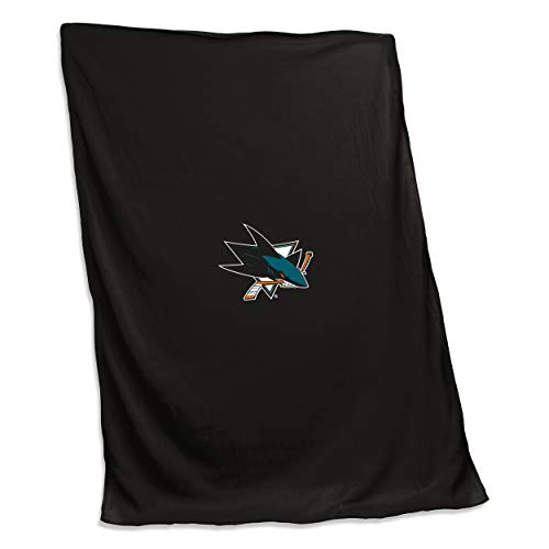 Logo Brands 825-74 NHL San Jose Sharks Unisex NHL 54X84 Sweatshirt Blanket with Tackle Twill Patch, One Size, Black