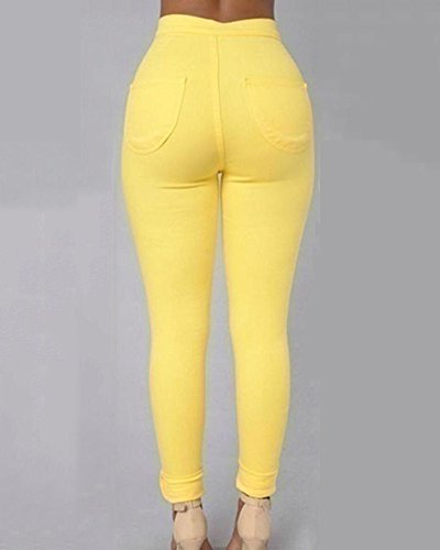 Casuale Pantaloni Elastico Jeans Denim Donne Alta Vita Giallo Leggings Skinny aSvAnqw