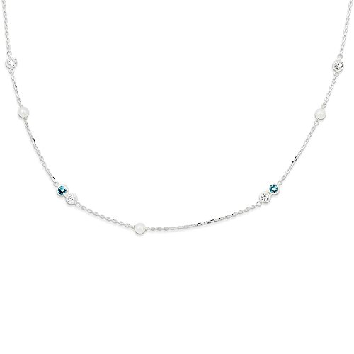 925 Sterling Silver Freshwater Cultured Pearl Blue Topaz Chain Necklace Pendant Charm Fine Jewelry Gifts For Women For Her