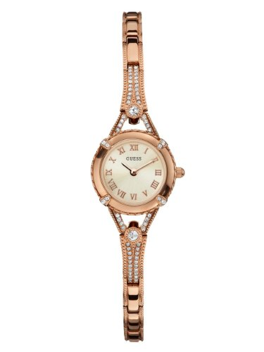 GUESS-Womens-U0135L3-Petite-Rose-Gold-Tone-Watch-with-White-Dial-Crystal-Accented-Bezel-and-Stainless-Steel-G-Link-Band