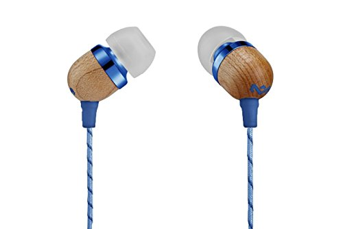 House of Marley, Smile Jamaica Wired In-Ear Headphones - In-line Microphone with 1-Button Remote, Noise Isolating, Durable, Tangle Free Cable, EM-JE041-DN Denim