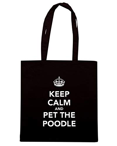 Speed Shirt Borsa Shopper Nera TKC3028 KEEP CALM AND PET THE POODLE