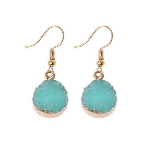 EA-STONE Druzy Stone Earring Hook Drop Earring Round Circle Natural Quartz Geode Crystal Earring Jewelry