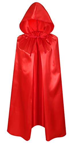 Crizcape Kids Costumes Cloak DIY Cape with Hood for Halloween Christmas Ages 2 to 18 (Red, 60cm/Ages 2-4)