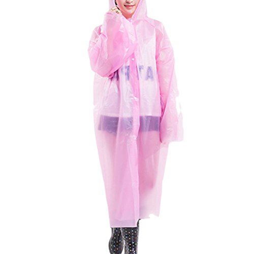 Zhhlinyuan Outdoor Portable Women Fashion PEVA Disposable Transparent Raincoat Pink
