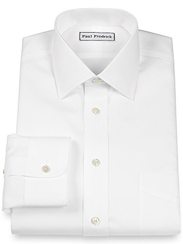Paul Iron Fredrick Non (Paul Fredrick Men's Slim Fit Non-Iron Cotton Spread Collar Dress Shirt White 16.5/36)