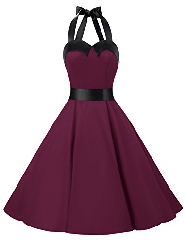 Dressystar Vintage Polka Dot Retro Cocktail Prom Dresses 50's 60's Rockabilly Bandage solid burgundy xl
