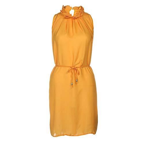 Dresses Elegant for Girls,Mlide Women's Sleeveless Summer Plain Pleated Dress Beach Party Casual Dress,Yellow XL by Mlide (Image #2)
