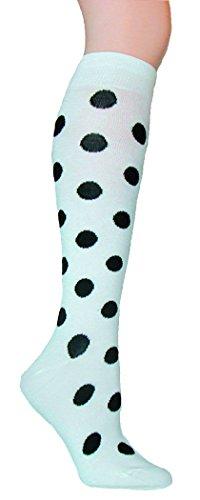 Polka Dot Knee Socks - Foot Traffic - Polka Dot Knee High Socks, White