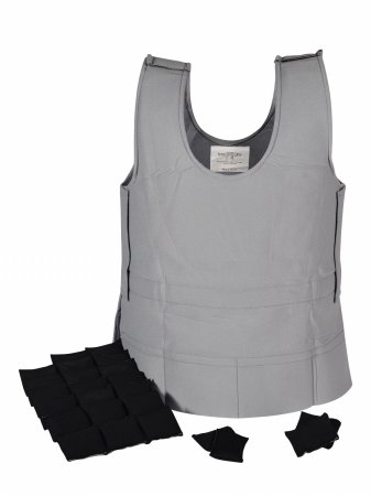 Abilitations Weighted 8 Pound Vest, 44 x 22 to 27 Inches, Gray, X-Large