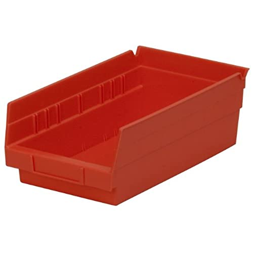 Bon Akro Mils 30130 12 Inch By 6 Inch By 4 Inch Plastic Nesting Shelf Bin Box,  Red,Case Of 12