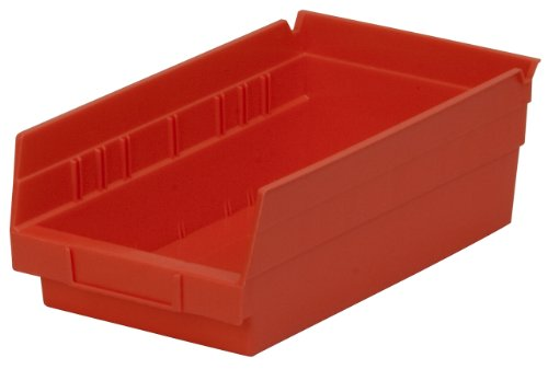 Akro-Mils 30130 12-Inch by 6-Inch by 4-Inch Plastic Nesting Shelf Bin Box, Red,Case of 12 -
