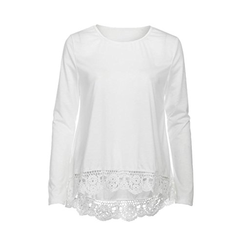 Sinwo Women's Fashion Lace Long Sleeve Shirt Casual Blouse Loose Cotton Tops T-Shirt (White, S)