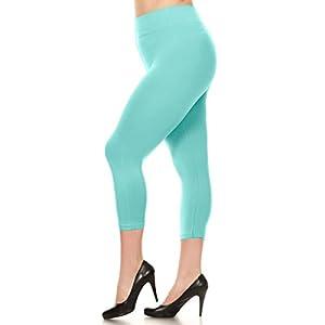 Women PLUS SIZE Solid Color Seamless Skinny Leg Yoga Capri Leggings Jeggings (Mint)