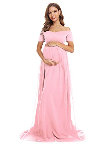 Short Sleeve Maternity Gown Sweetheart Maternity Dress Sheer Maternity Gown for Photo Shoot, Baby Shower (M, Pink)