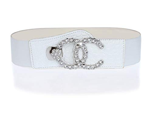Amiveil Stretch Belt for Women Luxury Rhinestone Black Wide Waist Belts