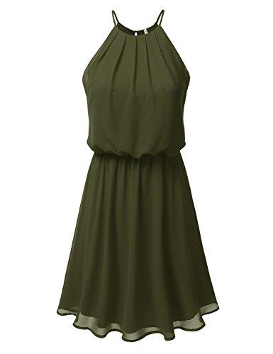 DRESSIS Womens Double Layered Chiffon Mini Tank Dress Olive 2XL