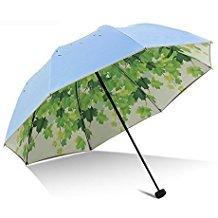 Green Leaf Tree Folding Travel Sun Umbrella Sunblock UV Protection UPF 50+ Rain Resistant Compact Size Parasol Fold into Purse (Blue)