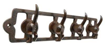 Cast Iron 4 Hook Dog Tail Key and Leash Rack ()