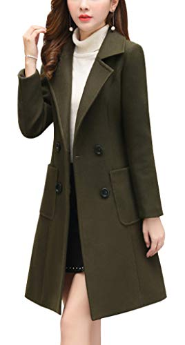 chouyatou Women Elegant Notched Collar Double Breasted Wool Blend Over Coat (XX-Large, Army Green)