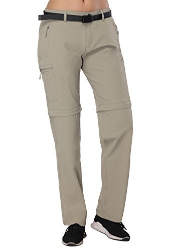 MIERSPORTS Women's Convertible Cargo Pants Quick Dry Hiking Pants, 4-way Stretchy, 6 Zipper Pockets, Rock Grey, S