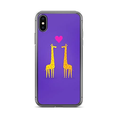 iPhone X/XS Case Anti-Scratch Creature Animal Transparent Cases Cover Cute Cartoon Giraffe Couple in Love Purple Edition Animals Fauna Crystal - Paddler Series