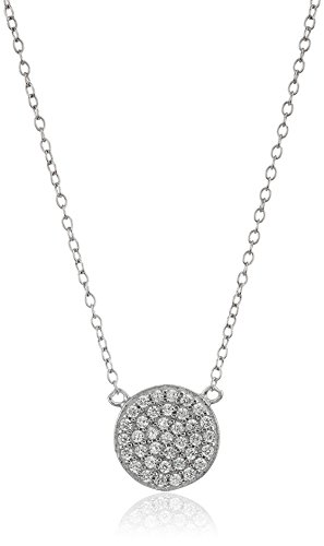 Sterling Silver Rhodium Plated and Cubic Zirconia Pave Disc Pendant Necklace, 18
