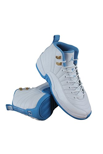 Jordan Kids Air 12 Retro GG, WHITE/METALLIC GOLD-UNIVERSITY BLUE, Youth Size 3.5 by Jordan