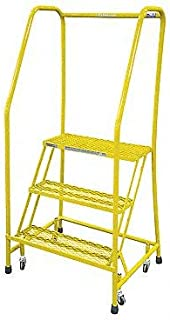 product image for Cotterman 1003R1820A2E10B3C2P6 - Rolling Ladder Steel 60In. H. Yellow