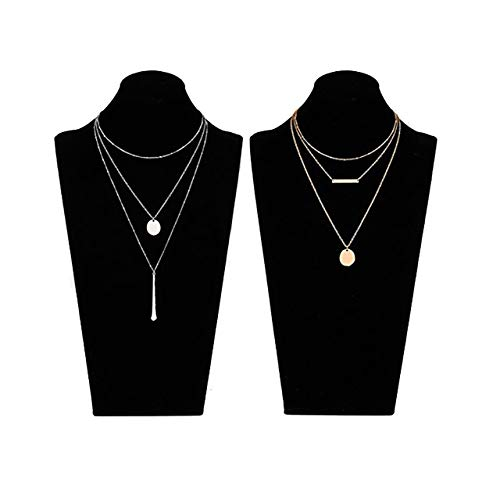 (LIAO Jewelry 2 Pcs Bohemia Layered Necklace Set Multilayer Choker Necklaces Simple Coin Bar Pendant Station Chain Necklace for Women (Gold + Silver))