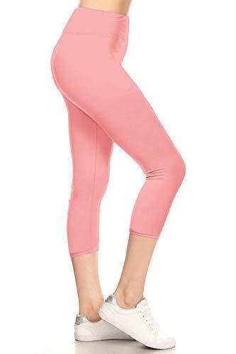 Pink Capris Soft - LYCPX128-PINK Yoga Capri Solid Leggings, Plus Size