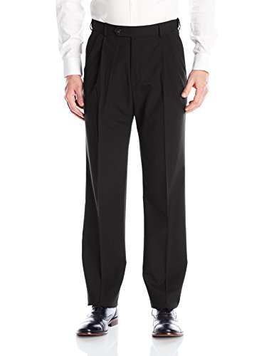 Palm Beach Men's Expander Pleated Dress Pant, Black, 48W (Black Worsted Wool Suit)