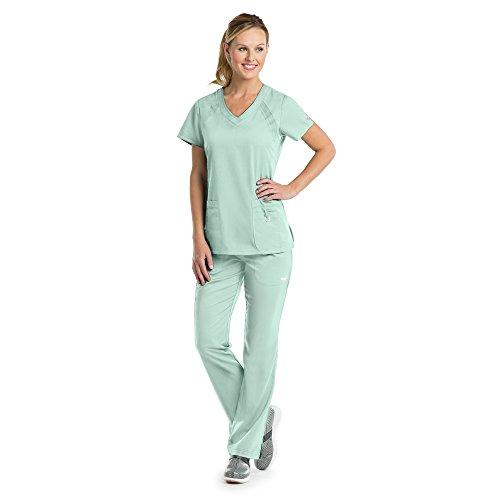 Mist Panel (Grey's Anatomy Active Women's 41447 3 Pocket Knit Side Panel Scrub Top- Aqua Mist- Small)