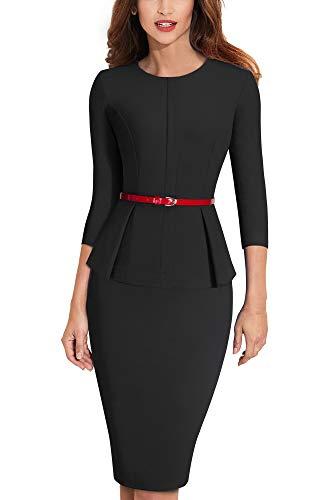 HOMEYEE Negocio Vestido de Mujer Cuello Redondo Peplo Cinturon B473 (EU 44=Size XXL, Negro)