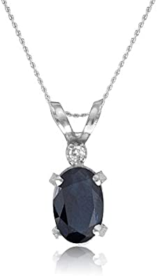14k White Gold Oval Sapphire Pendant with 18 Chain